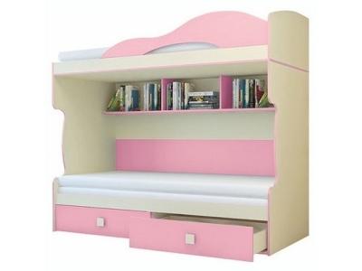 Кровать 2-х этажная с тахтой Радуга Фламинго