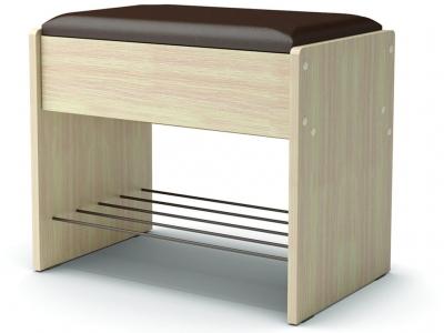 Банкетка с откидным сидением Дуб млечный - эко-кожа коричневая