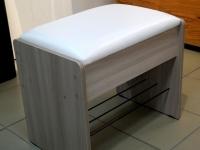 Банкетка с откидным сидением Ясень шимо светлый - эко-кожа белая