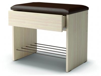 Банкетка с ящиком Дуб млечный - эко-кожа коричневая