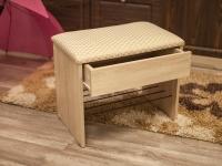Банкетка с ящиком Дуб сонома - Марго ромб крем