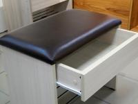 Банкетка с ящиком Ясень шимо светлый - эко-кожа коричневая