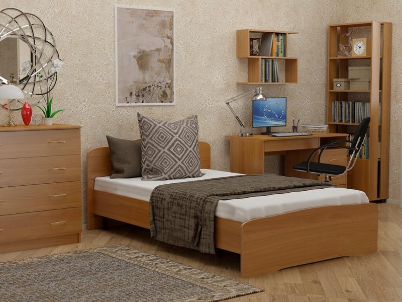 Кровать 120 Альфа с основанием Вишня