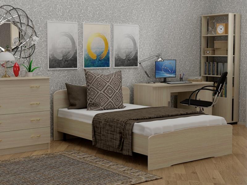 Кровать 120 Альфа с основанием Дуб млечный