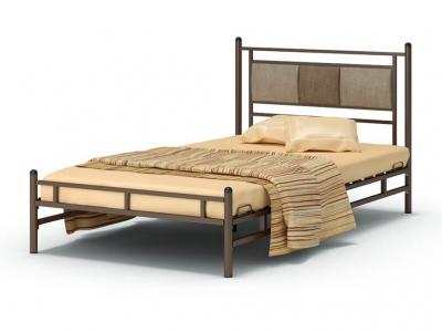 Кровать 120 Мелина металлическая Венге - Рогожка