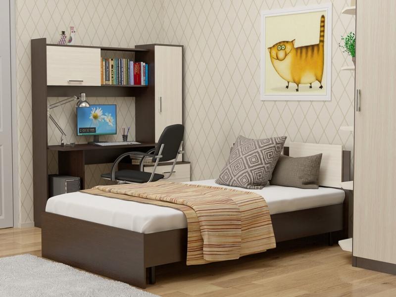 Кровать 120 Танго с основанием Венге - Дуб млечный
