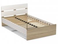 Кровать 120 Эксон с основанием Белый - Дуб Сонома