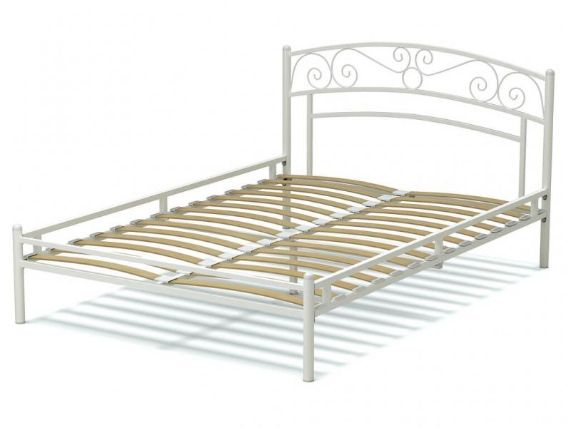 Кровать 140 Адель металлическая Белый глянец