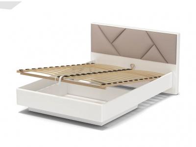 Кровать 140 Аида ПМ Белый - МДФ Топлёное молоко - ткань Матрикс кларити