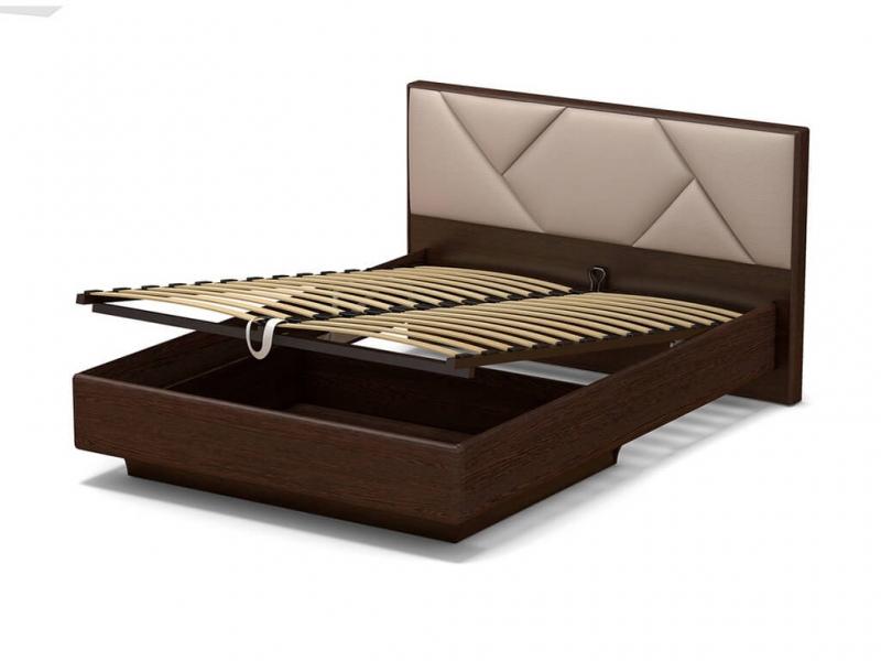 Кровать 140 Аида ПМ Венге - МДФ Орех премиум - ткань Матрикс кларити