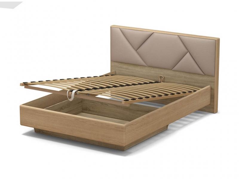 Кровать 140 Аида ПМ Дуб сонома - МДФ Дуб модерн - ткань Матрикс кларити