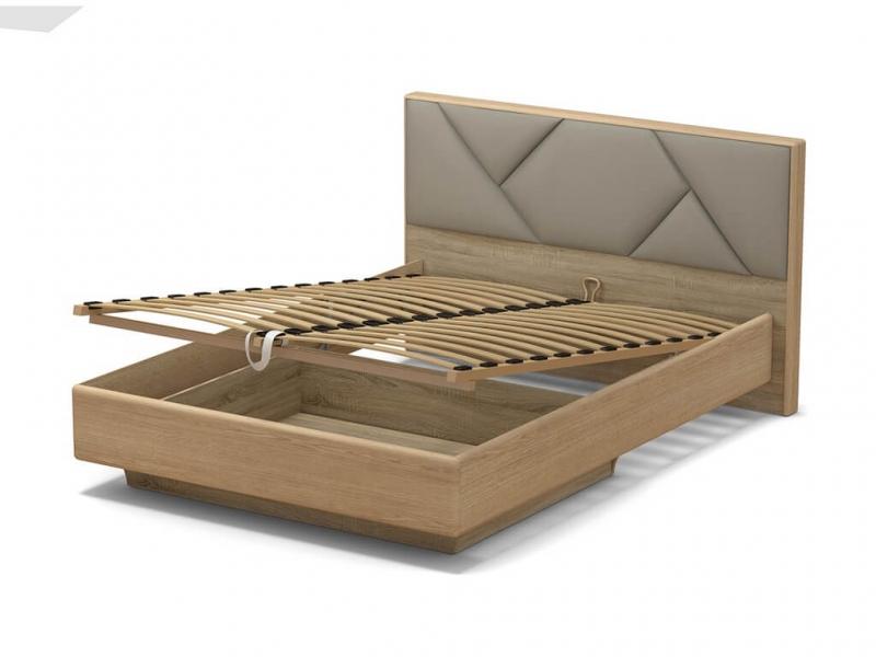 Кровать 140 Аида ПМ Дуб сонома - МДФ Дуб модерн - ткань Энигма бежевый