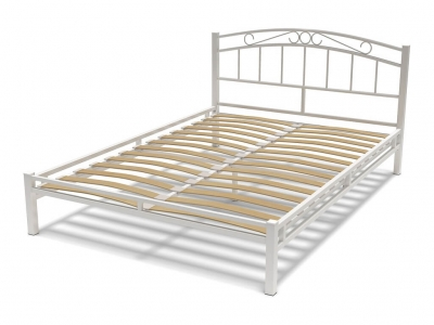 Кровать 140 Виола металлическая Белый глянец