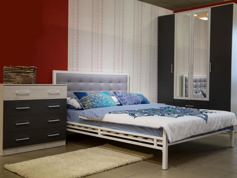 Кровать 140 Лагуна металлическая Белый глянец - ткань Энигма серебро