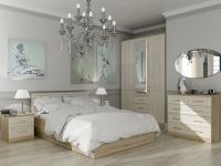 Кровать 140 Лаура с основанием Дуб сонома - МДФ Лён жемчужный