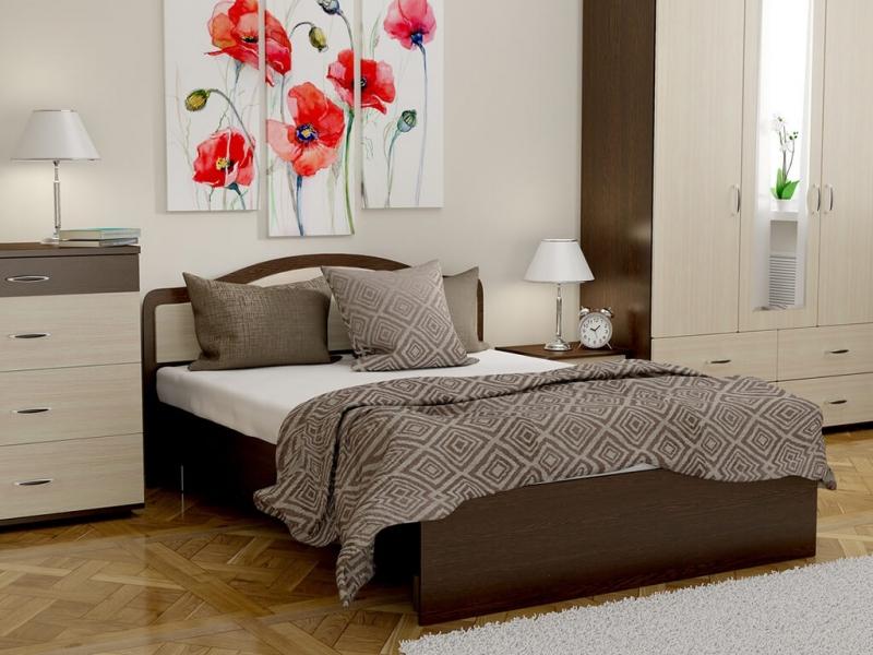 Кровать 140 Лиана с основанием Венге - Дуб млечный
