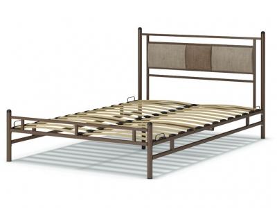 Кровать 140 Мелина металлическая Венге - Рогожка