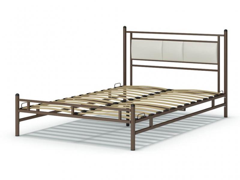 Кровать 140 Мелина металлическая Венге - эко-кожа