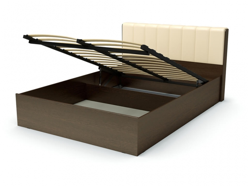 Кровать 140 Рондо ПМ Венге - эко-кожа бежевая