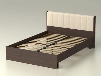 Кровать 140 Рондо с основанием Венге - эко-кожа бежевая