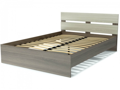Кровать 140 Эко-стиль с основанием Ясень шимо тёмный - Ясень шимо светлый