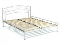 Кровать 160 Адель металлическая Белый глянец