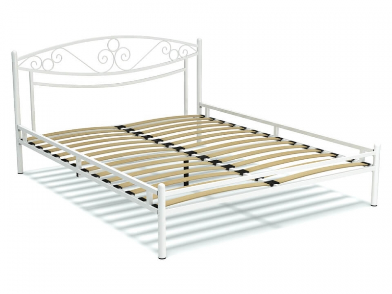 Кровать 160 Адель-2 металлическая Белый глянец