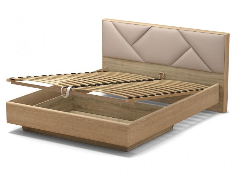 Кровать 160 Аида ПМ Дуб сонома - МДФ Дуб модерн - ткань Матрикс кларити