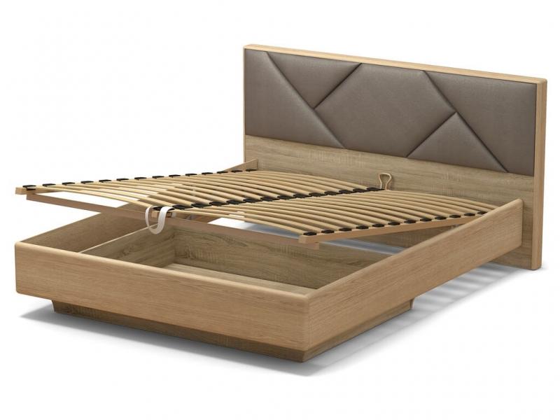 Кровать 160 Аида ПМ Дуб сонома - МДФ Дуб модерн - ткань Энигма серебро