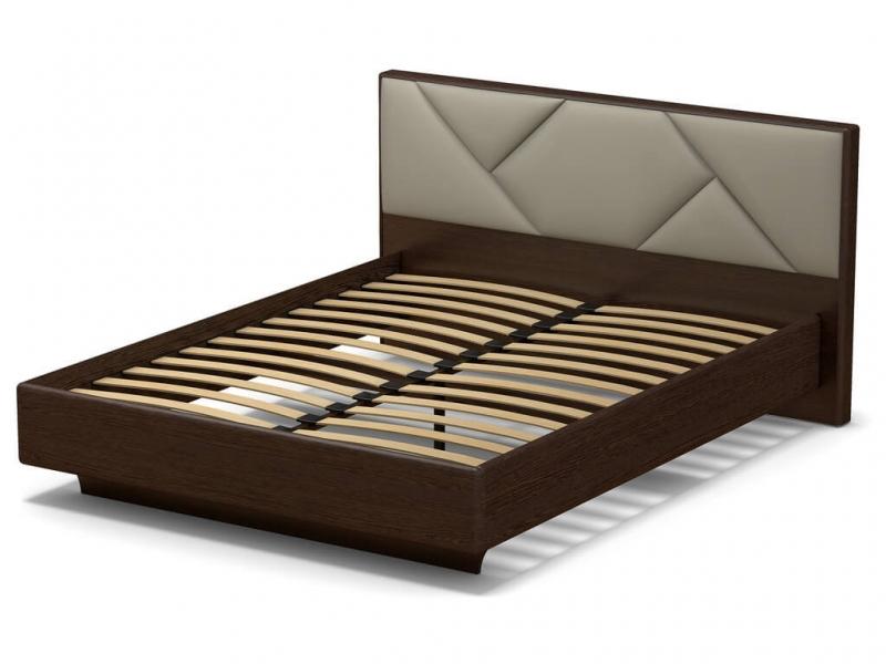 Кровать 160 Аида с основанием Венге - МДФ Орех премиум - ткань Энигма варм бежевый