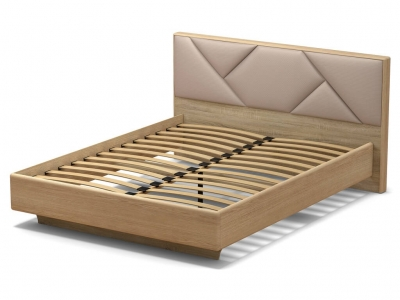 Кровать 160 Аида с основанием Дуб сонома - МДФ Дуб модерн - ткань Матрикс кларити