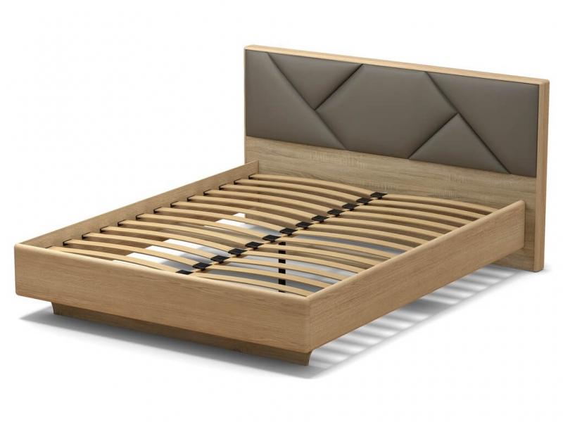 Кровать 160 Аида с основанием Дуб сонома - МДФ Дуб модерн - ткань Энигма серебро