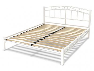 Кровать 160 Виола металлическая Белый глянец