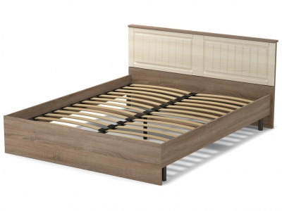 Кровать 160 Лаура с основанием Винтаж - МДФ Лён жемчужный