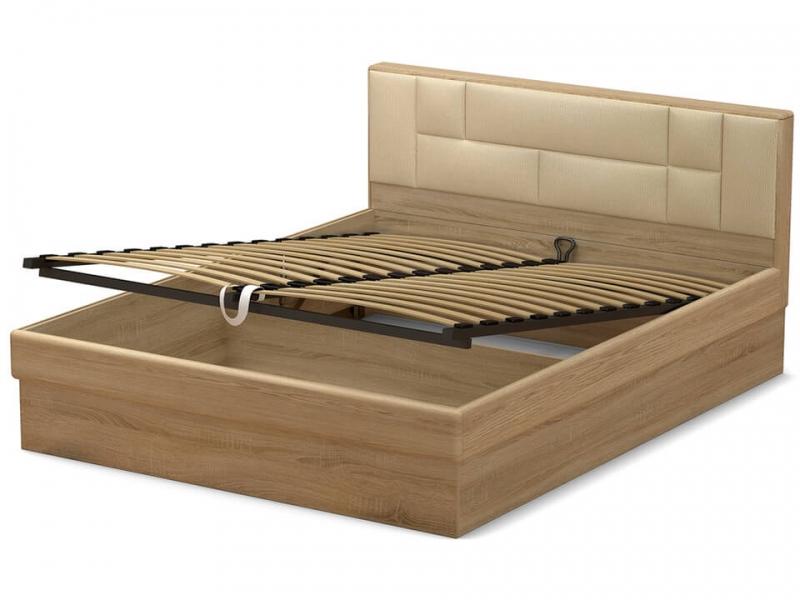 Кровать 160 Офелия ПМ Дуб сонома - МДФ Дуб модерн - ткань Энигма варм бежевый