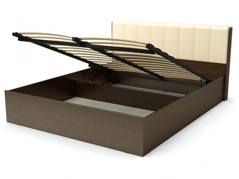Кровать 160 Рондо ПМ Венге - эко-кожа бежевая
