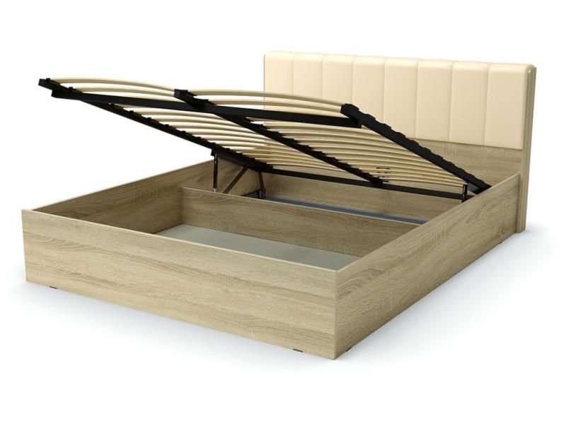 Кровать 160 Рондо ПМ Дуб сонома - эко-кожа бежевая