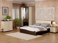 Кровать 160 Рондо с основанием Венге - эко-кожа бежевая