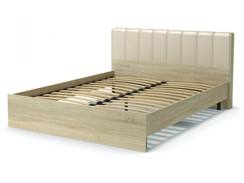 Кровать 160 Рондо с основанием Дуб сонома - эко-кожа бежевая