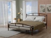 Кровать 160 Тая-2 металлическая Венге - эко-кожа белая