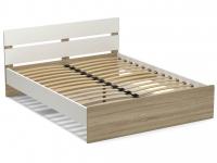 Кровать 160 Эксон с основанием Белый - Дуб Сонома