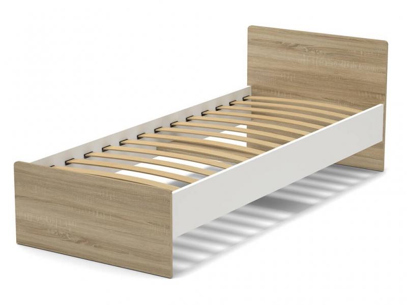 Кровать 80 Эксон с основанием Белый - Дуб Сонома