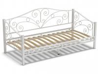 Кровать 90 Лаура металлическая Белый глянец