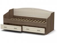Кровать 90 Лаура с основанием Винтаж - МДФ Лён жемчужный
