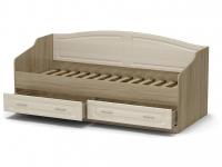 Кровать 90 Лаура с основанием Дуб сонома - МДФ Лён жемчужный