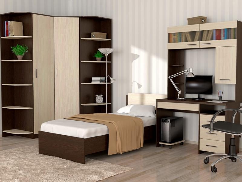 Кровать 90 Танго с накладкой Венге - Дуб млечный