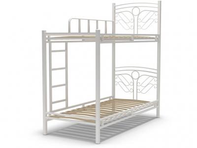 Кровать 90 Фантазия-2 2-х ярусная металлическая Белый глянец