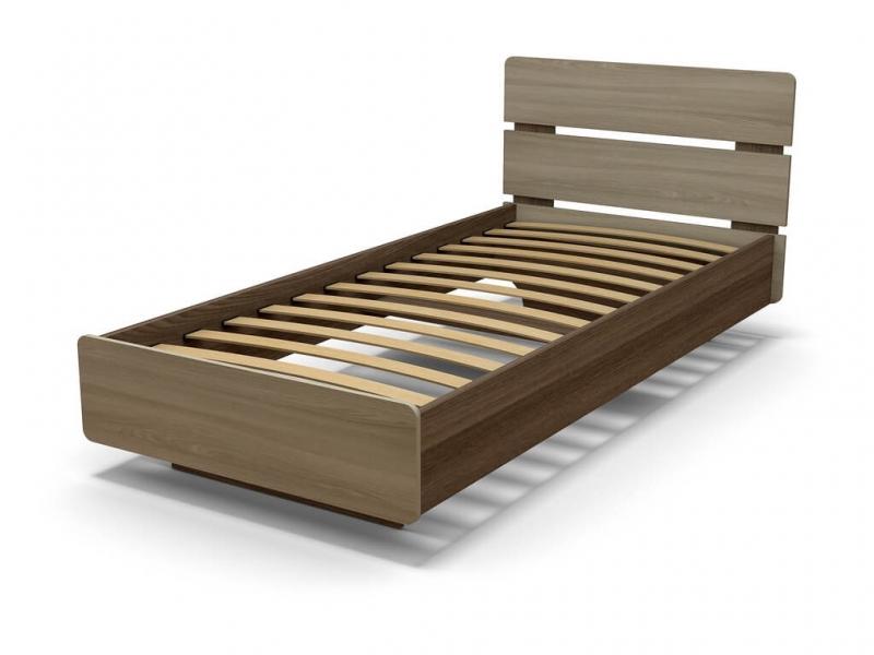Кровать Жанна 90 с основанием Ясень шимо тёмный - Ясень шимо светлый