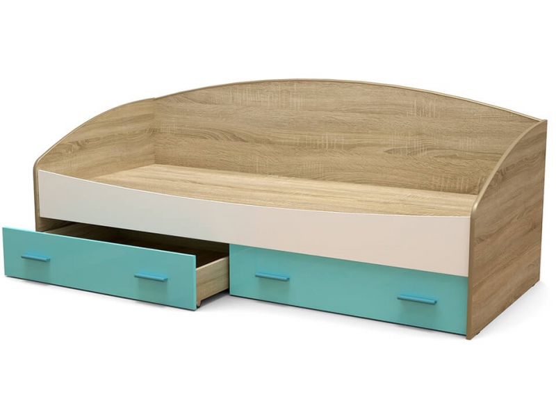 Кровать Максимка-2 с ящиками Дуб сонома - МДФ Белый глянец - МДФ Аквамарин