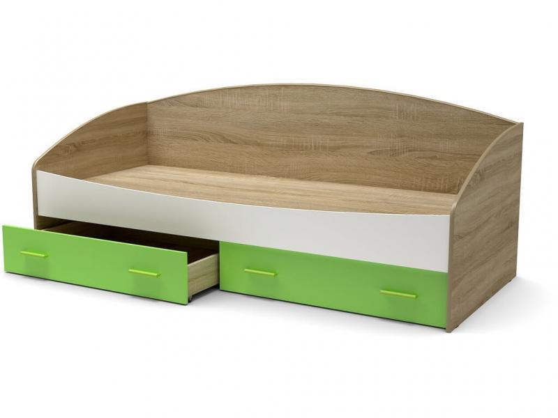 Кровать Максимка-2 с ящиками Дуб сонома - МДФ Белый глянец - МДФ Зелёное яблоко